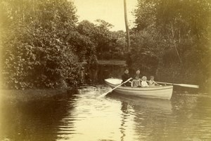 Family group in boat on river Children old Photo 1880