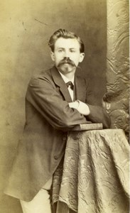 France Strasbourg Man Posing with Book Old Ch. Winter CDV Photo 1870