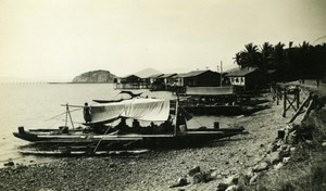 Native boat and houses New Guinea coast old Photo 1940