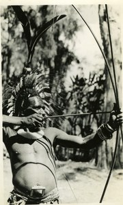 New Guinea native Hunter Archery Feather Headdress old Photo 1940