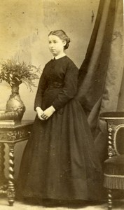 France Strasbourg  Woman books Fashion old Ch. Winter Photo CDV 1870