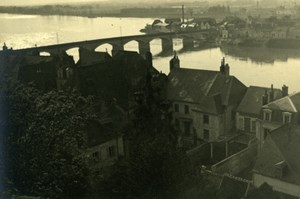 France River bridge Town Photographic study Old Photo 1935