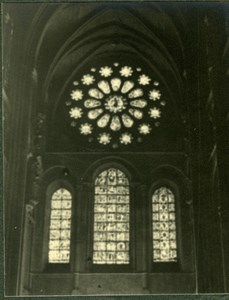 France Church interior Stained Glass Photographic study Old Photo 1935