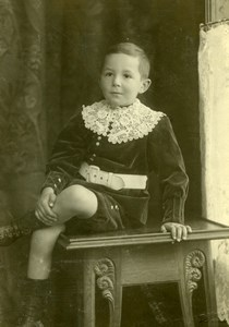 Switzerland Young Boy sitting Table Old Boissonnas Cabinet Card Photo 1900