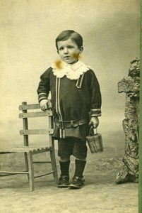 France Ivry Cute Boy & Metal Pail old Henry CDV Photo 1890