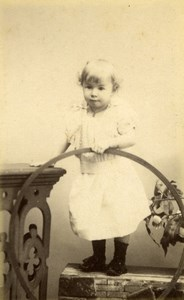 France Paris Toddler Girl & Hoop old Bacard CDV Photo 1890