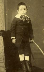 France Paris Young Boy & Hoop old Mazilie CDV Photo 1890