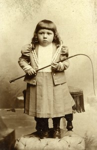 France Chauny Frowny Baby Boy & Whip old Debrie CDV Photo 1890