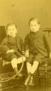 Young Boys & Hoop Rouen old Studio CDV Photo 1890