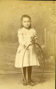 Young Girl & Hoop Chalon old Studio CDV Photo 1890