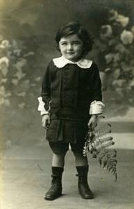 France Fontainebleau Young Boy & Fern Old Welti Studio CDV Photo 1890