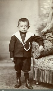 France Calais Little Boy Sailor Costume old Carpot Studio CDV Photo 1890