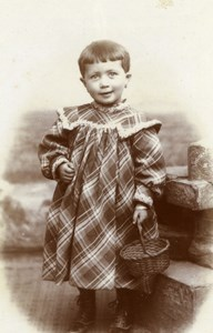France Romilly Young Girl & Wicker Basket old Savary Studio CDV Photo 1890
