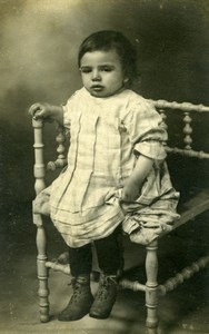 France Paris Young Boy on a Chair old Lines-Girard Studio CDV Photo 1890
