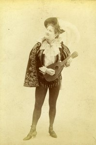 French Stage actress Mandolin Paris Fashion old Stebbing Cabinet Card Photo 1895