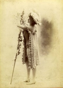 French Stage actress Manuy Paris Fashion old Stebbing Cabinet Card Photo 1895