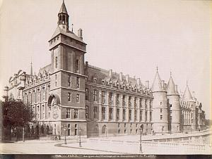 Paris Architecture building Antique Albumen Photo 1880