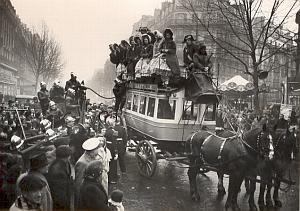 Horse carriage Parade in Paris New Year old Photo 1950