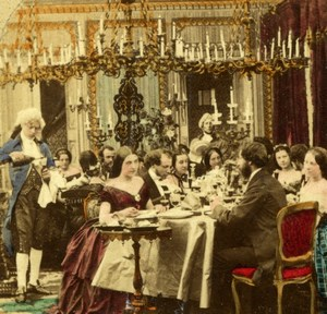 Paris Society Diner Scene albumen stereoview Photo 1860