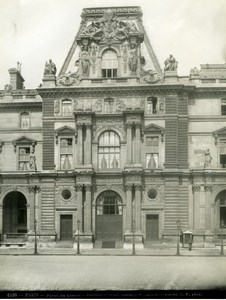 France Paris Louvre Palace Pavillon Colbert old Photo 1900'