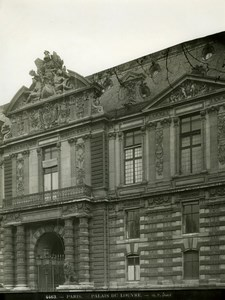 Louvre Palace Architecture Detail Paris old Photo 1900'