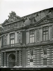 Louvre Palace, detail, Paris, old LP Photo 1900'