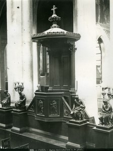 Saint-Gervais Church Pulpit Chaire Paris old Photo 1900