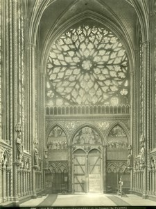 Sainte Chapelle Interior Rosace, Paris, old Photo 1900'
