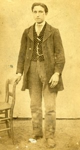 France Young Country Man in Sunday Clothes Old Photo CDV 1860'