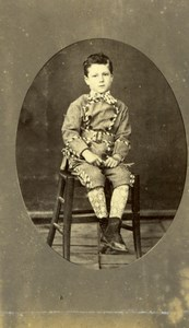 Young Boy in Costume Fashion France old Photo CDV 1860'