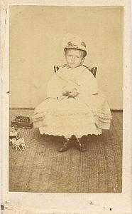 Baby w/ Horse Soldier Toys, France, old Photo CDV 1860'
