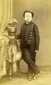 School Boy in Uniform Fashion France old Photo CDV 1860