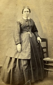 Lady in Dress Fashion, France, old Photo CDV 1860'