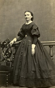Lady, Fashion Clothing France, old Photo CDV 1860'