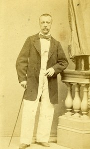 France Man w/ Top Hat & Stick Second Empire Fashion old Photo CDV 1860'