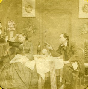 Couple Arguing Albumen Tissue Stereoview old Photo 1860