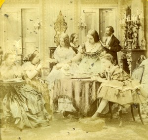 Sunday Lunch, Albumen Tissue Stereoview Photo 1860'