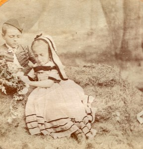 Kids Picnic Albumen Tissue Stereoview Photo 1860'
