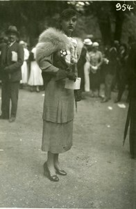 France Elegant French Fashion at Horse Racing Mode aux Courses old Photo 1920'