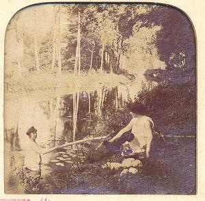 Girls River Lesbian Risque Stereoview Tissue Photo 1880