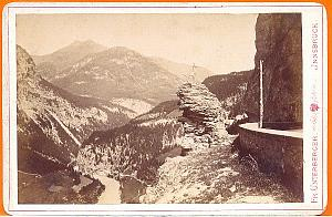 Innsbruk Mountain Statue on Rock, old Photo CC 1880'