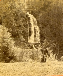 Switzerland Brienz Giessbach Falls old Lamy Photo stereoview 1870's