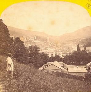 Bade, Panorama, Switzerland, old Photo stereoview 1860'