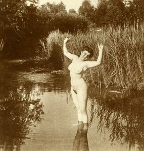 France Nude Woman in River Risque old Stereoview Photo 1900'