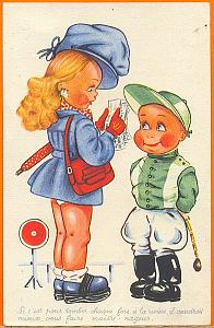 Humoristic Girl and Boy Jockey, old postcard 1900'