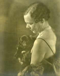 France Woman with dog Artistic Study old Photo 1930