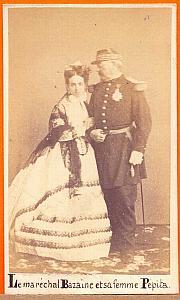 Pepita & Francois Bazaine , Mexico, old Aubert CDV 1864