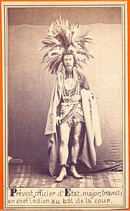 French Officer in Maya full dress, Mexico, old CDV 1864