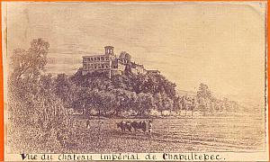 Chapultepec Castle, drawing, Mexico, old CDV 1865'