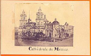 Mexico Cathedral, old anonymous Photo CDV 1865'